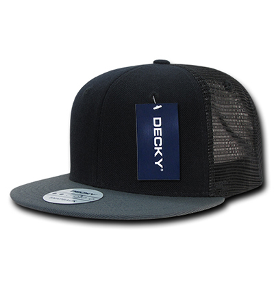1052 6 Panel Flat Bill Trucker Cap