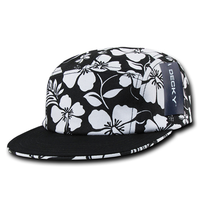 1070 Solid Bill 5 Panel Floral Racer Cap